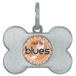 Música de los azules; Chevron anaranjado y blanco Placas De Mascota