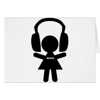Música de los azules de los auriculares tarjeta de felicitación