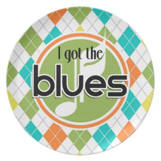 Música de los azules; Modelo colorido de Argyle Platos