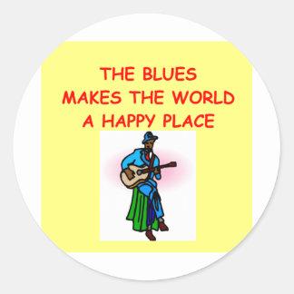 música de los azules pegatina redonda