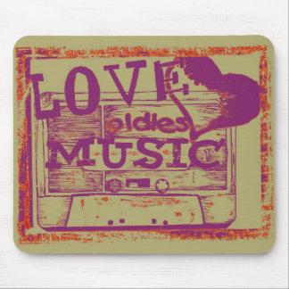 Música de los oldies del amor del vintage tapetes de ratón