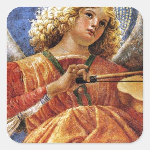 Música de Melozzo que hace ángel Pegatina Cuadrada