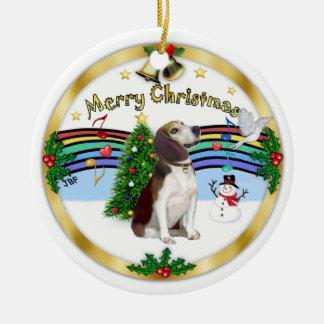 Música de Navidad 1 - bujía métrica - beagle Adorno Redondo De Cerámica