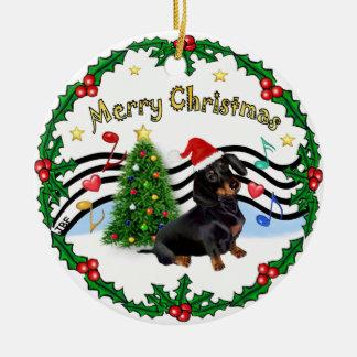 Música de Navidad 1 - bujía métrica - Dachshund Adorno Navideño Redondo De Cerámica