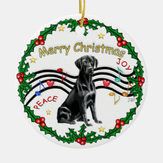 Música de Navidad 1 - bujía métrica - Labrador Adorno Redondo De Cerámica