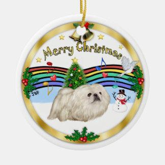 Música de Navidad 1 - bujía métrica - Pekingese Adorno Redondo De Cerámica