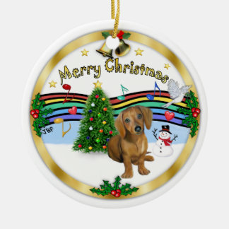 Música de Navidad 1 - bujía métrica - perrito 13 Adorno Redondo De Cerámica