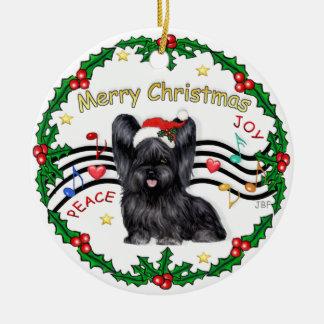 Música de Navidad 1 - bujía métrica - Skye Terrier Adorno Redondo De Cerámica