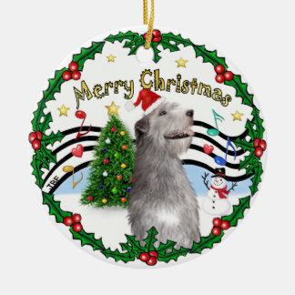 Música de Navidad 1 - bujía métrica - Wolfhound Adorno Redondo De Cerámica