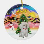 Música de Navidad - caniche blanco de la Adorno De Navidad