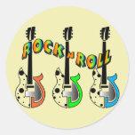 Música de neón de la guitarra eléctrica del rollo etiquetas redondas