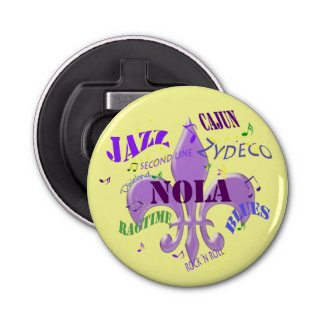 Música de NOLA New Orleans (amarillo) Abrebotellas Redondo