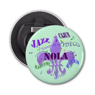 Música de NOLA New Orleans (verde) Abrebotellas Redondo
