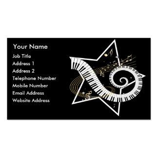 Música de oro de las notas de la estrella musical tarjetas de visita