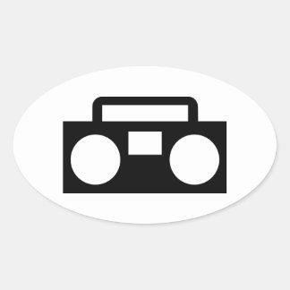Música de radio calcomanías ovales personalizadas