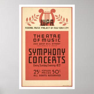 Música de teatro de Nueva York WPA 1940 Poster