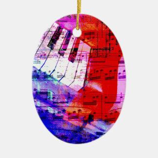 música, decoración del piano (11) adorno navideño ovalado de cerámica