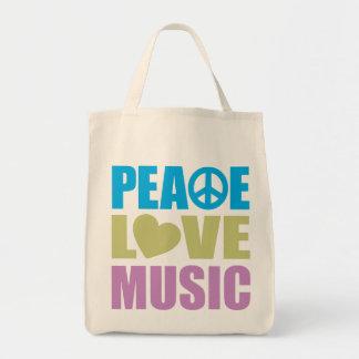 Música del amor de la paz bolsa lienzo