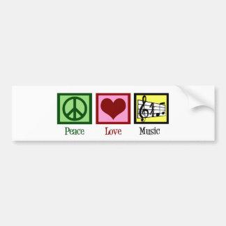 Música del amor de la paz pegatina de parachoque