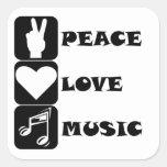 Música del amor de la paz calcomanías cuadradass