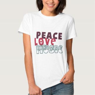 Música del amor de la paz camisas