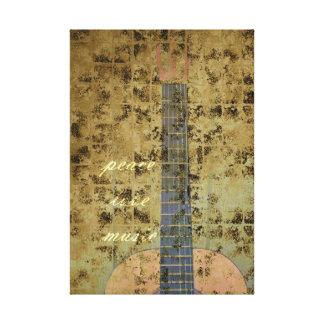 Música del amor de la paz de la guitarra lona envuelta para galerías