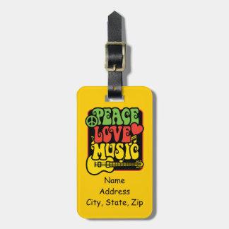 Música del amor de la paz de Rasta Etiquetas Bolsa