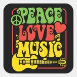 Música del amor de la paz de Rasta Pegatina Cuadrada