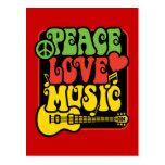 Música del amor de la paz de Rasta Tarjetas Postales