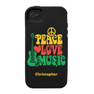 Música del amor de la paz del reggae vibe iPhone 4 fundas