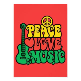 """Música del amor de la paz del reggae invitación 5.5"""" x 7.5"""""""