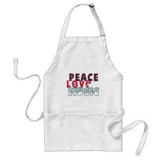 Música del amor de la paz delantal