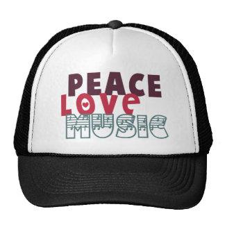 Música del amor de la paz gorros