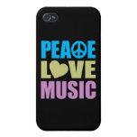 Música del amor de la paz iPhone 4/4S fundas