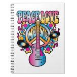 Música del amor de la paz libretas espirales