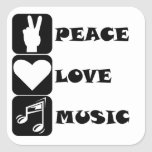 Música del amor de la paz calcomanías cuadradass personalizadas