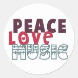 Música del amor de la paz pegatina redonda