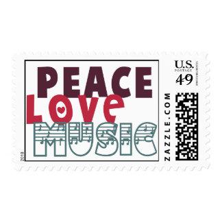 Música del amor de la paz sello
