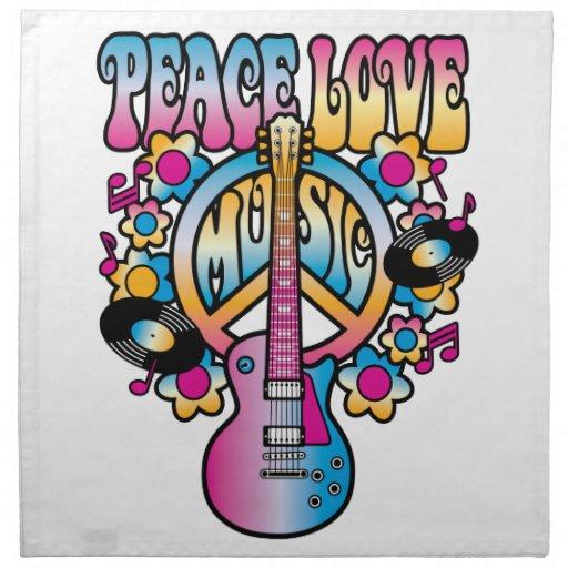 Música del amor de la paz servilletas imprimidas