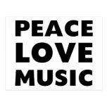 Música del amor de la paz tarjeta postal