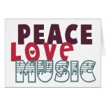 Música del amor de la paz tarjetas