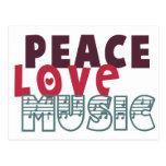 Música del amor de la paz tarjetas postales