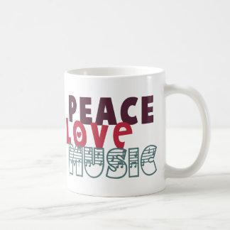 Música del amor de la paz tazas de café