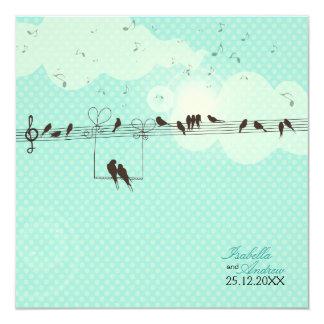 Música del amor invitación 13,3 cm x 13,3cm