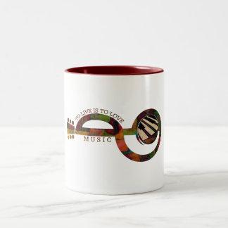 Música del amor taza de café