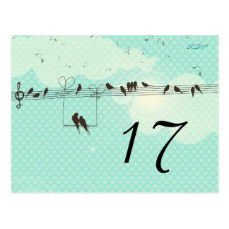 Música del amor - tarjeta del número de la tabla tarjetas postales