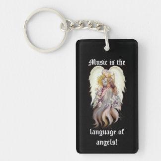 Música del ángel del vintage llavero rectangular acrílico a una cara
