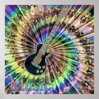 Música del arco iris de las notas de la guitarra póster