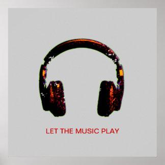 música del auricular de DJ para las paredes Póster