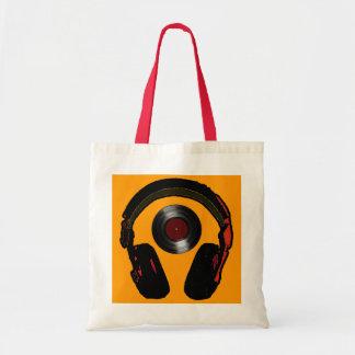 música del auricular y del disco de vinilo de DJ Bolsa Tela Barata